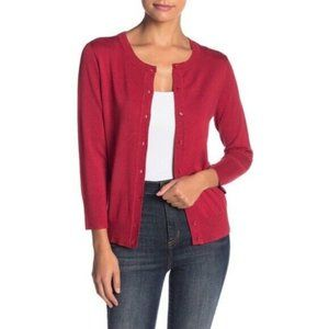 Susina Red Classic Cardigan Button 3/4 Sleeve